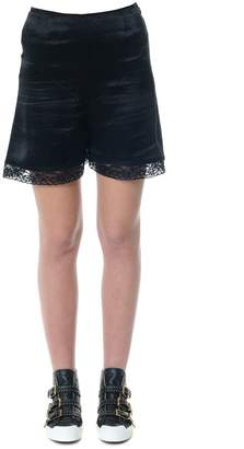 McQ Black Satin Shorts With Lace