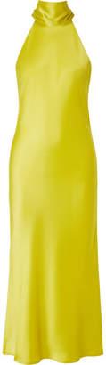 Galvan - Sienna Satin Midi Dress - Chartreuse