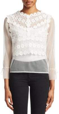 Maje Lessy Sheer Floral Lace Top