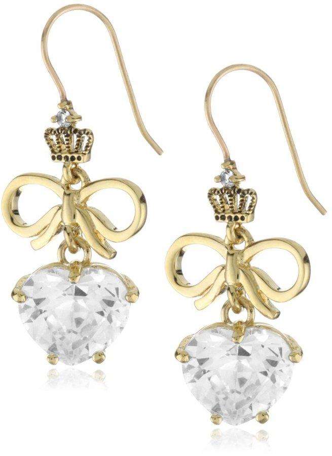 Juicy Couture Love Story Drop Earrings Gold Heart & Bow Drop Earring