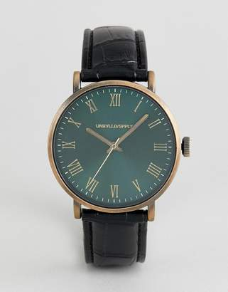 Asos DESIGN vintage style watch with black faux crocodile emboss strap and green dial
