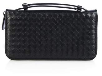 Bottega Veneta Intrecciato Leather Travel Wallet - Mens - Black