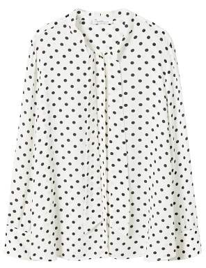 Violeta BY MANGO Bow polka-dot blouse