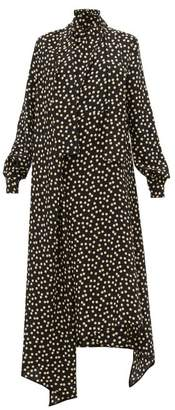 Petar Petrov Del Rey Polka Dot Asymmetric Hem Silk Dress - Womens - Black White