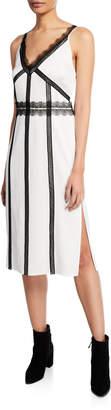 Jason Wu V-Neck Sleeveless Satin Back Crepe Dress w/ Lace Trim