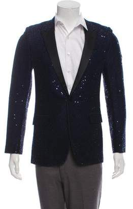 Saint Laurent Sequin Peak-Lapel Tuxedo