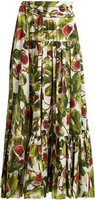 Dolce & Gabbana Fig-print cotton maxi skirt