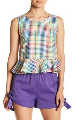 Romeo & Juliet Couture Rainbow Plaid Peplum Top