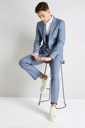 Ted Baker Gold Tailored Fit Light Blue Sharkskin Jacket