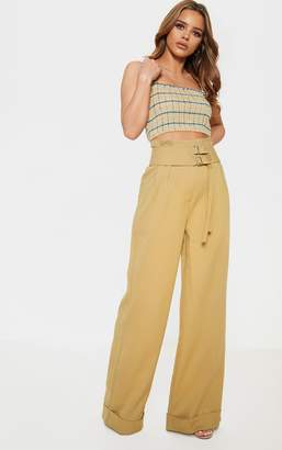 PrettyLittleThing Petite Olive Green Paper Bag Pleated Wide Leg Trouser