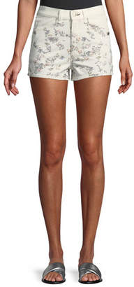 Rag & Bone Ellie Floral-Print High-Rise Twill Shorts w/ Western Back Yoke