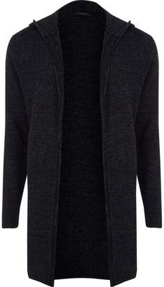 River Island Mens Navy hooded knit cardigan