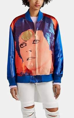 Undercover Women's Ziggy Stardust-Pattern Oversized Bomber Jacket - Blue