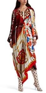 Marine Serre Women's Silk-Scarf Drawstring Caftan Dress