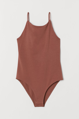 H&M Narrow-shoulder-strap Bodysuit - Orange