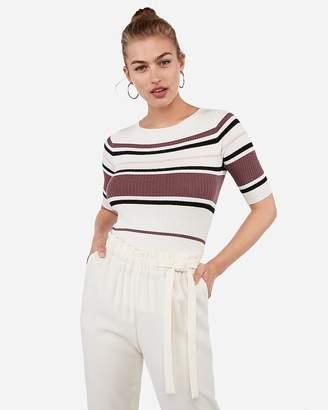 Express Stripe Elbow Sleeve Sweater