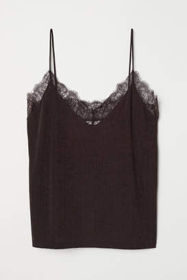 H&M Jersey Top with Lace - Brown