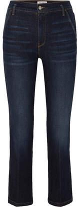 Frame Le Slender High-rise Straight-leg Jeans - Dark denim