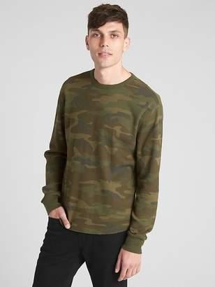 Gap Long Sleeve Classic T-Shirt in Waffle Knit