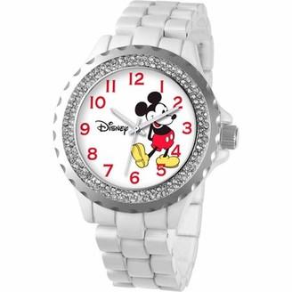 Disney Mickey Mouse Women's Enamel Watch, White Bracelet