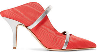Malone Souliers Maureen Metallic Leather-trimmed Moire Mules - Coral