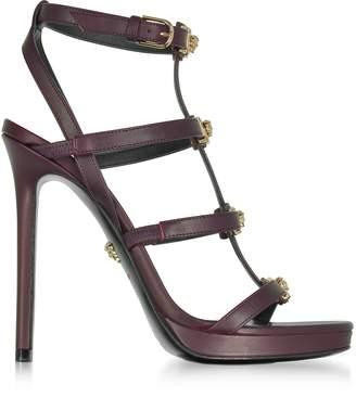 Versace Burgundy Leather Sandal w/Light Gold Medusa