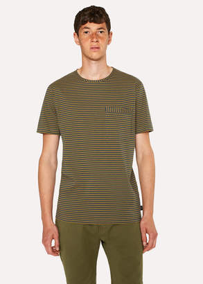 Paul Smith Men's Ochre Yellow Stripe Cotton Pocket T-Shirt
