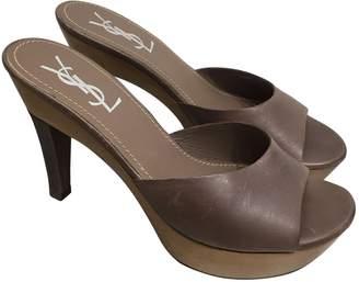 Saint Laurent Brown Leather Mules & Clogs