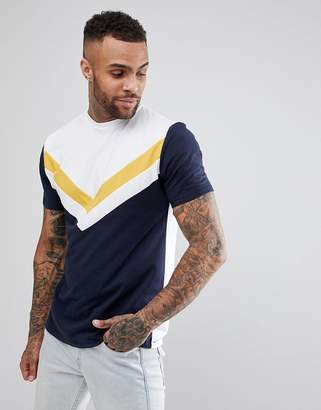 Asos DESIGN Relaxed Longline T-Shirt With Chevron Cut & Sew Panel