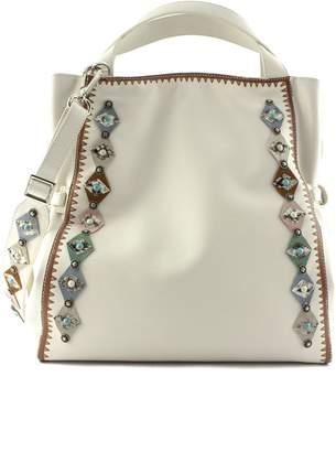 Orciani White Leather Jackie Shoulder Bag