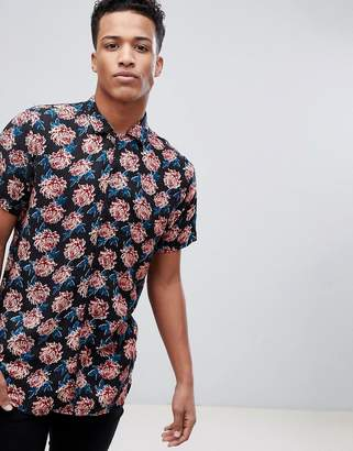 Brave Soul Short Sleeved All Over Floral Print Shirt With Revere Collar