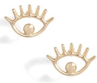 Poppy Finch Eye Charm Stud Earrings