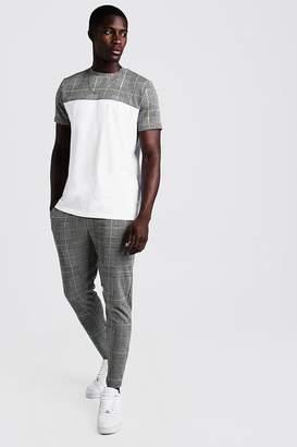 boohoo Smart Jacquard Check Panelled T-Shirt Tracksuit
