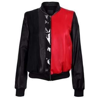 Vols & Original Black & Red Leather Bomber Jacket With Silver Print Motif