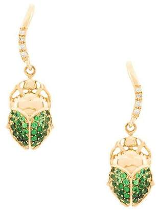 Aurelie Bidermann 18kt gold mini Scarab tsavorite and diamond earrings