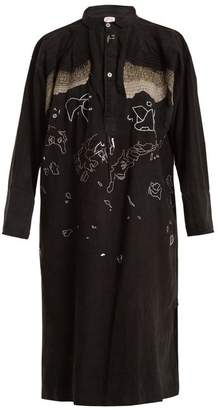 Kilometre Paris - Tavan Tolgoi Embroidered Linen Shirtdress - Womens - Black