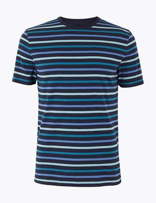 Marks and Spencer Slim Fit Cotton Striped T-Shirt