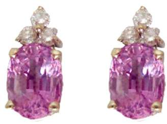14k White Gold Pink Sapphire & Diamond Earrings