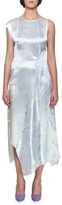 Victoria Beckham Sleeveless Satin Moiré Print Asymmetric Drape Midi Dress