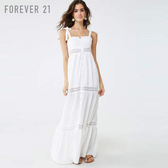 Forever 21 (フォーエバー 21) - Forever 21 クロシェトリムフレアロングワンピース