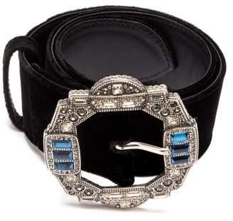 Etro Embellished Buckle Velvet Belt - Womens - Black