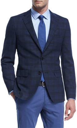 BOSS Plaid Hopsack Stretch-Wool Sport Coat