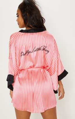 PrettyLittleThing Pink Striped Satin Robe