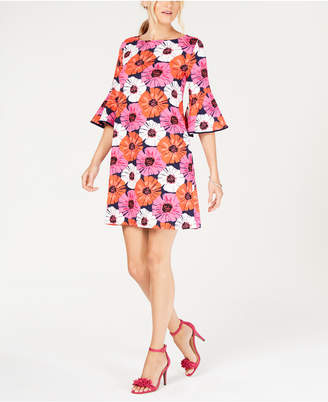 Pappagallo Bell-Sleeve Floral Shift Dress