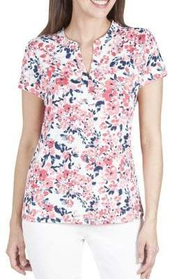Haggar Petite Floral Split Neck Top