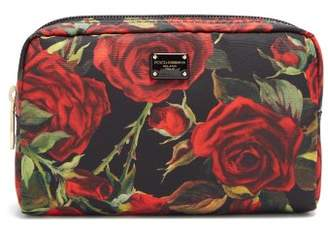 Dolce & Gabbana Roses Print Fabric Washbag - Womens - Black Red