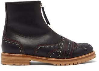 Gabriela Hearst Marcela Topstitched Leather Boots - Womens - Navy