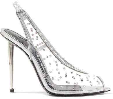TOM FORD - Embellished Metallic Leather And Pvc Slingback Pumps - Silver