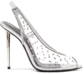 Tom Ford Embellished Metallic Leather And Pvc Slingback Pumps - Silver