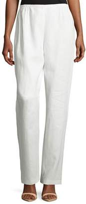 Caroline Rose Straight-Leg Linen Pants, White, Petite